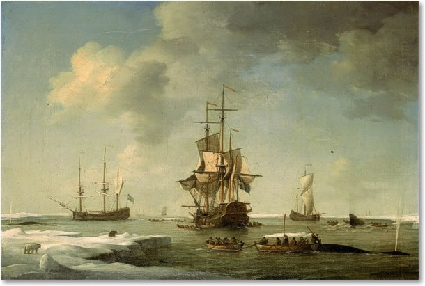 Charles Brooking Greenland Fishery: English Whalers in the Ice Riproduzione a olio, qualità museale