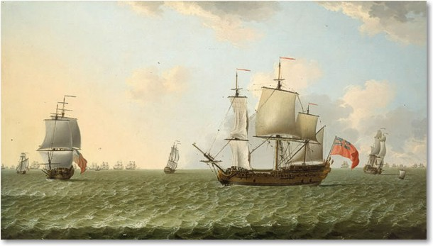 Francis Swaine An East Indiaman in stays with a fleet chase beyond... Riproduzione a olio, qualità museale