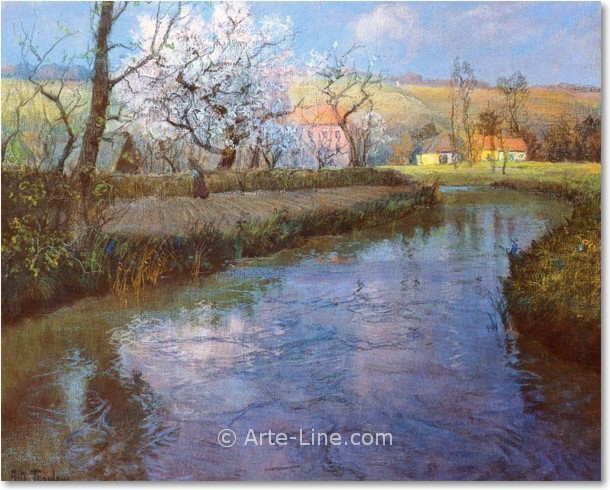 Frits Thaulow A French River Landscape Riproduzione a olio, qualit� museale