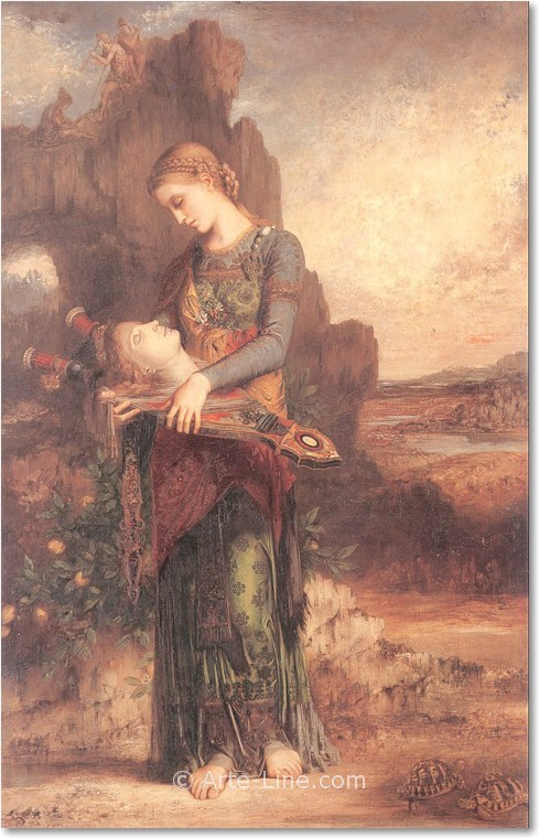 Gustave Moreau Thracian Girl carrying the Head of Orpheus on his Lyre Riproduzione a olio, qualità museale