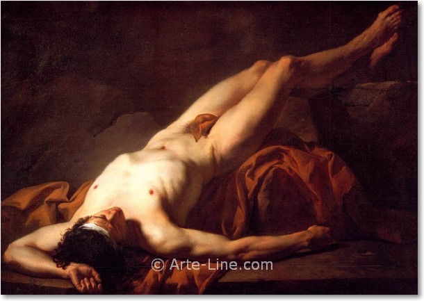 Jacques-Louis David, Nude Study of Hector, arte line, quadri ...