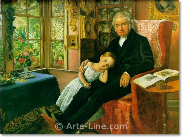John Everett Millais James Wyatt and His Granddaughter Mary Riproduzione a olio, qualità museale