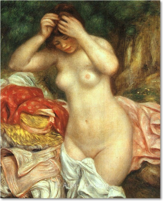 Pierre Auguste Renoir Bather arranging her Hair Riproduzione a olio, qualit� museale