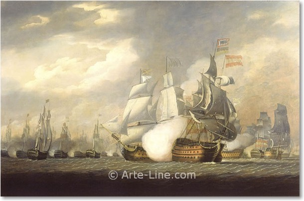Robert Cleveley  'Victory' Raking the Spanish at the Battle of Cape St Vincent Riproduzione a olio, qualità museale