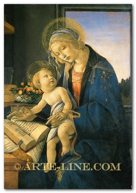 Sandro Botticelli, Madonna with the Child (Madonna with the Book) Riproduzione a olio, qualità museale